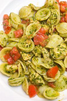 Orecchiette with Spinach Pesto, Chicken & Tomatoes - Sugar & Spice by Celeste