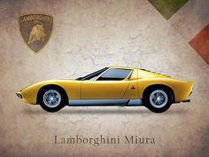 Lamborghini Miura Print By Mark Rogan