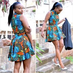 Ankara Flare Dress ~African fashion, Ankara, kitenge, African women dresses, African prints, African men's fashion, Nigerian style, Ghanaian fashion ~DKK