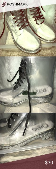 Sam Edelman PVC Clear Booties Super adorable see through booties wear the cutest socks and show them off!! These are in great condition except for the green mark on the inside of shoe. See photos ask questions before you purchase ☝🏽 selling cheap bc of sm defect Sam Edelman Shoes Ankle Boots & Booties