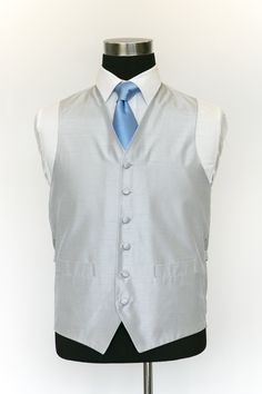 Sliver Silk Waistcoat with Light Blue Tie Wedding Waistcoats, Blue Ties, Dream Wedding, Light Blue, Vest, Silk, Jackets, Collection, Dresses