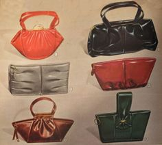 Six stylish bags in a range of colours, 1947. #vintage #1940s #purses