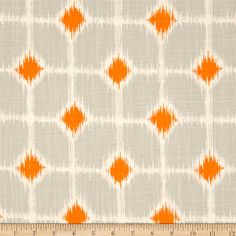 """Premier Prints Sofie Dossett Mandarin from @fabricdotcom  Screen printed on cotton slub duck (slub cloth has a linen appearance), this """"dossett"""" is a lighter weight slub cloth and perfect for window accents (draperies, valances, curtains and swags), accent pillows, bed skirts, duvet covers, some upholstery and other home decor accents. *Use cold water and mild detergent (Woolite). Drying is NOT recommended - Air Dry Only - Do not Dry Clean. Colors include grey, orange and natural."""