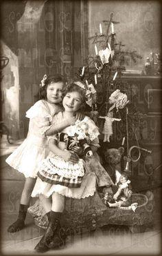 1900s Christmas Tree | Christmas, Sisters and Tree, Toys, Teddy Bear - Instant Digital ...