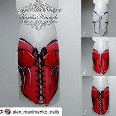 Pin Up Nails, Red Nails, 3d Nail Art, Nail Art Hacks, Corset Nails, Nail Drawing, Water Color Nails, Vintage Nails, Valentine's Day Nail Designs
