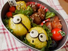 Despicable Me bento Bento Box Lunch, Lunch Snacks, Bento Recipes, Healthy Recipes, Bento Ideas, Desserts Japonais, Dessert Original, Kawaii Bento, Food Humor