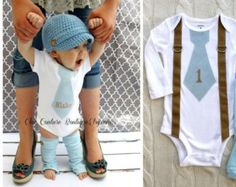 """Baby Boy Tie and Suspenders Bodysuit. Baby Blue Herringbone Personalized """"1""""  or Any Wording.  1st Birthday Outfit. Christmas Holiday Gift"""