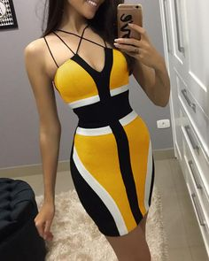 Multi-Strap Colorblock Insert Bodycon Dress Women's Online Shopping Offering Huge Discounts on Dresses, Lingerie , Jumpsuits , Swimwear, Tops and More. Dress Outfits, Fashion Dresses, Fashion Clothes, Fashion Fashion, Latest Fashion, Winter Fashion, Fashion Trends, Sequin Party Dress, Mode Chic