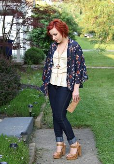 Thrift and Shout blog; cute outfit of the day, kimono, butterflies, boho, skinny jeans, red hair, Target, Goodwill, What to wear to a cookout