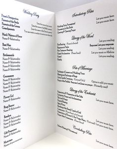 catholic wedding program idea, clean and simple layout love the please be seated note! The ups and downs of mass can be confusing for visitors