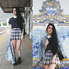 After a summer of feminization by his Aunt, Andy returns to school as Angie, both scared and excited Preppy Grunge, Preppy Style, My Style, Boho Style, Grunge Fashion, Boho Fashion, Vintage Fashion, Womens Fashion, Fashion Top