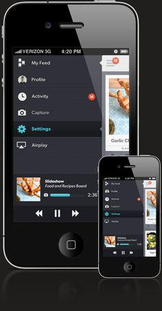 Mobile UI - Slide under navigation menu. Dark UI. Also good for settings and preferences.