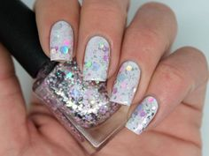 """Nail polish - """"Bellissima"""" silver, pink and lavender glitter in a clear base on Etsy, $10.15 CAD"""