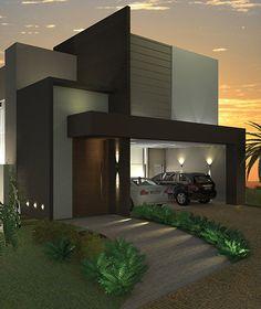 arqtaizamoiteiro Modern Small House Design, Modern Exterior House Designs, Modern Villa Design, Contemporary House Plans, House Front Design, Modern Architecture House, Exterior Design, Modern Bungalow House, Model House Plan
