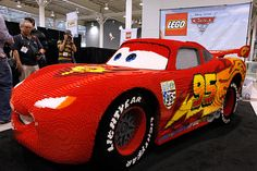 A life-sized LEGO model of Lightning McQueen sits on display at the American International Toy Fair on Feb. 13 in New York. Built by LEGO Master Builder Erik Varszegi, the model, which measures 12 feet long by 6 feet wide by 4.5 feet tall, commemorates a new collection of LEGO building sets inspired by Disney-Pixar's 'Cars' franchise.Jason DeCrow/AP Images for LEGO