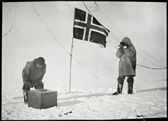 Amundsen checks the sunlight intensity and Helmer Hansen checks the artificial horizon at the South Pole 14 - 17 December 1911. Photographer: unknown. Owner: National Library.