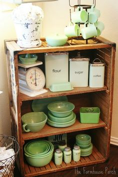 Jadeite Collection Love this idea of displaying my pretty-colored tools and utensils  Love those pantry containers!!