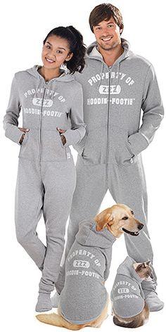 Hoodie-Footie™ - Varsity for Men & Women -- even the dog