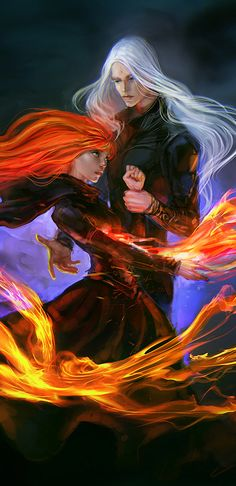 Salamandra by *anndr on deviantART (cropped for detail) THIS IS SOOOOOO SAM AND ROWAN!!! I MEAN THE HAIR OF THE GIRL MAY NOT BE RIGHT BUT IMAGINE IS HER FIRE POWER!!! OH YEAS