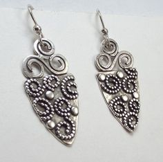 Sterling Silver Spiral Shield Earrings by katherinefathisilver
