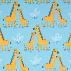 light blue giraffe Africa animal flannel fabric Timeless Treasures USA 2
