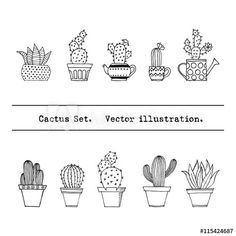 Cactus set in simple hand drawn style. tattoo simple Hand Drawn Plants stock photos and royalty-free images, vectors and illustrations Drawing Simple, Calligraphy Quotes Doodles, Cactus Doodle, Cactus Vector, Cactus Tattoo, Cactus Drawing, Cute Doodles, Easy Watercolor, Tattoo Fonts