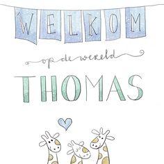 - Welkom op de wereld, Thomas - #geboorte #babygeboren #thomas #welkomopdewereld #handlettering #handletteren #doodles #handmade #scripting #brushscripting #stiften