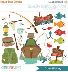 30% OFF SALE Vector Clipart - Gone Fishing / Camping, fishing sport, father's day, fishing tackle, boat, fishing rod, fisherman, clip art by MyClipArtStore on Etsy https://www.etsy.com/listing/173966090/30-off-sale-vector-clipart-gone-fishing