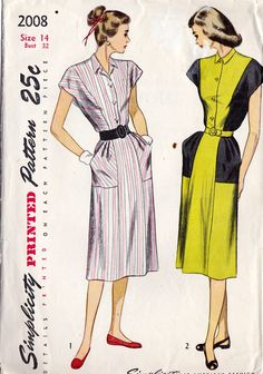 1940s Misses Shirtwaist Dress
