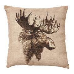 Vintage Moose Burlap Pillow