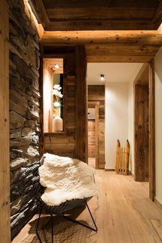 Chalet Meribel ski chalet wooden rustic alp interior stone and wood walls flooring Chalet Design, House Design, Design Design, Design Trends, Chalet Chic, Chalet Style, Ski Chalet Decor, Cabin Homes, Log Homes