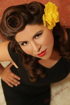 Hello Victory Rolls --- so perfect! :: Rockabilly Hairstyles:: Pin Up Hair Inspiration:: Retro Victory Rolls:: Vintage Hairstyles