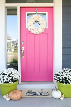 Add curb appeal with a new pink front door.Add curb appeal with a new pink front door. victorian victoriandoor victorianhome victorianhouse The best paint colors for your front doorBest paint colors Pink Paint Colors, Front Door Paint Colors, Painted Front Doors, Front Door Decor, Wall Colors, Front Porch, Pink Houses, Exterior Paint, Exterior Design