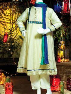 Junaid Jamshed Eid Dresses For Kids 2014   New Shalwar Kameez Designs For Small Girls