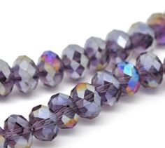 52B 25  CLEAR AB TEARDROP FACETED CRYSTAL GLASS BEADS ~ 8mm  x 11mm~ NECKLACE