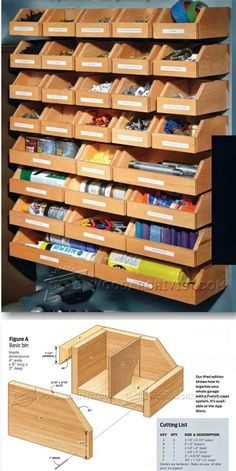 DIY Hardware Organizer - Workshop Solutions Projects, Tips and Tricks - Woodwork, Woodworking, Woodworking Plans, Woodworking Projects Workshop Storage, Workshop Organization, Garage Organization, Tool Storage, Garage Storage, Organization Ideas, Car Storage, Woodworking Organization, Diy Workshop