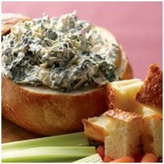 #maketodaybetter  Hot Spinach Artichoke Dip in a Bread Bowl: Healthy vegetables like spinach and artichokes become a deliciously creamy celebration with Panera Sourdough bread bowls loaded with this hot, crunchy and cheesy dip.