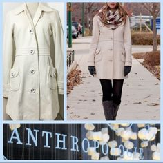 ✨like new✨ Anthropologie Ivory long Peacoat Make an offer on this ✨like new✨(no stains, rips, tares) Tulle long cream ivory winter white colored walking coat from Anthropologie. Beautiful button details on sleeves and tilt pockets along with front button closure. Gorgeous interior lining gives this coat a classy look. Lightweight and flattering belted fit perfect for layering on top of sweaters. Fits true to a xsmall as ladies 2-4. Model featured wearing identical blush pink tulle coat…