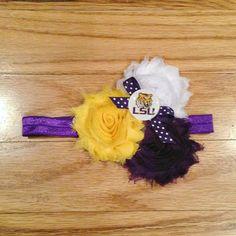 LSU Chiffon Headband Tigers Live, Lsu Tigers, Baby Flower Headbands, Purple Love, Chiffon, Entertaining, Unique Jewelry, Handmade Gifts, Flowers
