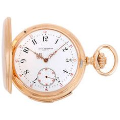 Patek Philippe Minute Repeater Hunting Case Pocket Watch | From a unique collection of vintage pocket watches at https://www.1stdibs.com/jewelry/watches/pocket-watches/