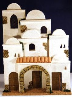 Housing Composition No. Christmas Village Display, Christmas Nativity Scene, Christmas Decorations, Nativity House, Fontanini Nativity, Pottery Houses, Diy And Crafts, Crafts For Kids, My Fairy Garden
