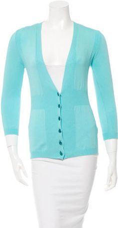 M Missoni Rib Knit-Trimmed V-Neck Cardigan Women's V Neck Sweaters, V Neck Cardigan, Missoni, Rib Knit, Knitting, Stylish, Tops, Fashion, Women's Blouses