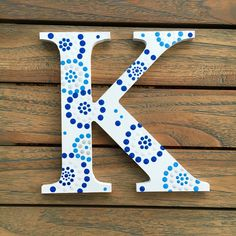 Kappa Greek Letter, Sorority Wall Art, Greek Wall Decor, Blue and White Dot Painting, Wall Words, Hand Painted Letters, Greek Life