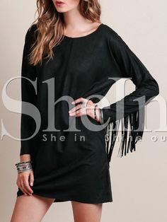 Vestido cuello redondo flecos -negro 13.79