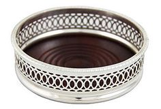 """One Kings Lane - Shine On - Silver-Plated Gothic Wine Coaster, 5"""""""