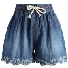 Chicwish Scrolled Hem Denim Shorts in Navy Blue ($39) ❤ liked on Polyvore featuring shorts, bottoms, short, blue, blue short shorts, embroidered shorts, short jean shorts, blue denim shorts and elastic waistband shorts