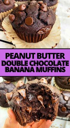 I can't stop making these double chocolate peanut banana muffins! I love that this recipe is made with clean ingredients and the peanut butter flavor. They come out perfect and moist every time! My kids are obsessed with these healthy chocolate muffins and so am I! Such an easy recipe! #muffins #chocolatemuffins