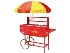 Rce Room-Carnival-style hot dog cart with an umbrella. Features a hot dog roller, beverage cooler, and internal steamers. Product: Hot dog ca. Nostalgia, Pretzel Bun, Hot Dog Cart, Hot Dog Stand, Vintage Carnival, Carnival Food, Carnival Ideas, Carnival Birthday, Carnival Booths