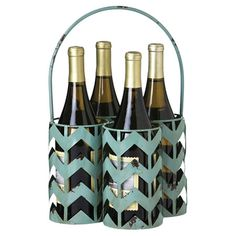 Stow 4 of your favorite vintages in style with this openwork chevron wine tote, showcasing a weathered blue finish.  Product: Wi...