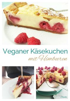 Vegan cheesecake with raspberries or other fruit is tasty and easy to make. Vegan Cheesecake, Cheesecake Recipes, Sweet Recipes, Vegan Recipes, Sweets Cake, Vegan Kitchen, Vegan Treats, Healthy Baking, Food Inspiration